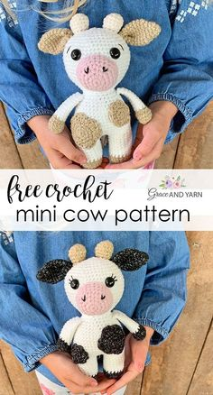 Free quick and easy beginner friendly pattern to make your own mini crochet cow. Pattern includes step by step photos to walk you through the process. Crochet Animal Patterns, Stuffed Animal Patterns, Crochet Patterns Amigurumi, Macrame Patterns, Easy Crochet Animals, Loom Patterns, Embroidery Patterns, Crochet Cow, Cute Crochet