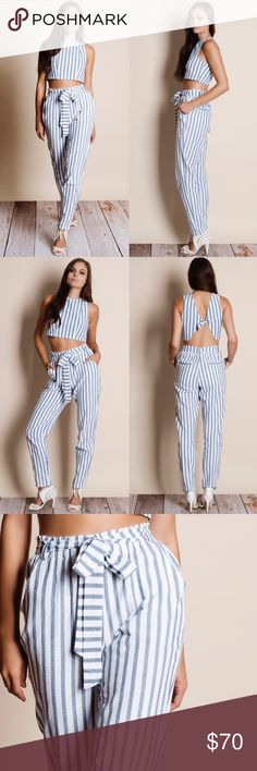 """Crop Top Pants Set Striped crop top with a tie back and pants set. Junior sizing. This is an ACTUAL PIC of the item - all photography done personally by me. Model is 5'9"""", 32""""-24""""-36"""" wearing the size small. NO TRADES DO NOT BOTHER ASKING. PRICE FIRM. Bare Anthology Pants Jumpsuits & Rompers"""