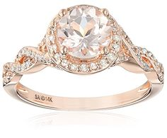 14k Pink Gold Morganite and Diamond (1/4cttw, H-I Color, I2-I3 Clarity) Engagement Ring, Size 7