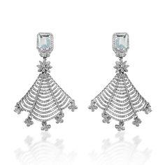 Web Aquamarine Diamond Earrings