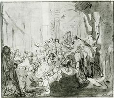 Rembrandt: St. Paul Preaching at Athens  c. 1637  178 x 204mm  Pen and bistre, washes in reddish-brown, and Indian ink  British Museum, London