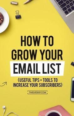 10 Effective Strategies To Grow Your Email List (Useful Email Marketing Tools + Tips To Increase Your Email Subscribers!) - CLICK THE PIN TO LEARN NOW. Confira dicas, táticas e ferramentas para E-mail Marketing no Blog Estratégia Digital aqui em http://www.estrategiadigital.pt/category/e-mail-marketing/