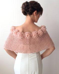 Mohair wrap bridal capelet rose cape champagne shawl   Etsy Crochet Neck Warmer, Crochet Jacket, Crochet Poncho, Crochet Scarves, Crochet Clothes, Crochet Stitches, Crochet Flowers, Knitting Patterns Free, Crochet Patterns