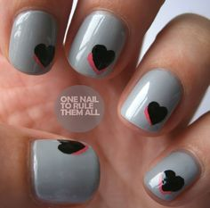 Pink, black, and grey heart nails. Or for Valentine's Day, white base color, pink heart under a red heart