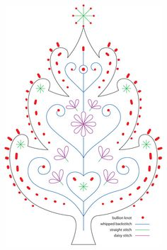 Christmas / Festive Tree embroidery pattern for a stocking or pillowcase.