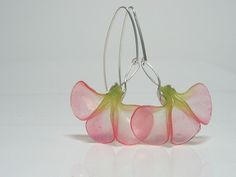 Kathrin Neumaier - Earrings Art Noveau Flower made with Pardo Professional art clay translucent