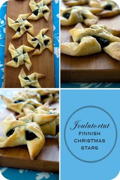 Joulutortut Finnish Christmas Stars- I made these this Christmas with puff pastry for the dough and homemade peach jam for the filling. Maybe not authentic but a really easy, fun, beautiful, yummy nod to our Finnish heritage! Christmas Stars, Christmas 2014, Christmas Baking, Christmas Recipes, Christmas Cookies, Holiday Recipes, Finland Facts, Peach Jam, International Recipes