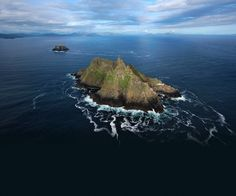Skellig Michael, or Great Skellig is the larger of the two Skellig Islands located 11.6 km west of the Iveragh Peninsula in County Kerry, Ireland.