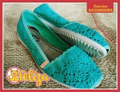 Alpargata Unicolor Aguamarina, tallas 34 a 40. Contacto 301 6347566 - www.tiendafeliza.com