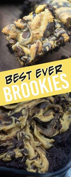 Brookies - a delicious mash up of brownies and chocolate chi.- Brookies – a delicious mash up of brownies and chocolate chip cookies! Brookies – they're perfect when you just can't decide between brownies or cookies! Brownie Cookies, Chocolate Chip Cookies, Brownie Desserts, Köstliche Desserts, Best Dessert Recipes, Bar Cookies, Bar Recipes, Cookie Brownie Recipes, Plated Desserts