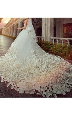 Silver Austrian Crystal & 3D Gardenia Flower & Petal Embellished White Wedding Ball Gown with Cathedral Length Train - Ickl Fashion