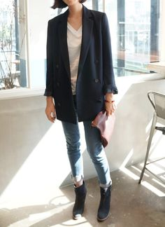 oversize navy blazer + white loose tee + blue jeans + ankle booties