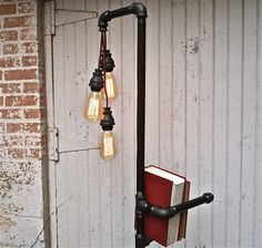 Industrial Floor Lamp Bookshelf by Stella Bleu Designs - eclectic - floor lamps - Etsy