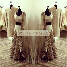 Craftsmanship, attention to detail, and creativity. Three words that come to mind when you look at this stunning #lehenga and #sherwani by Wellgroomed Designs Inc  For more fashion inspiration go here: http://bit.ly/1HBR63F
