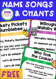 FREE Name Chants and Songs for Pre-K & Kindergarten