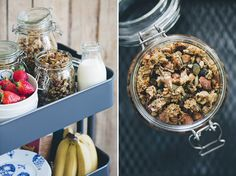 Yummy Banana granola via Green Kitchen Stories // next time I'm going to try making an unhealthy version with chocolate chips and walnuts instead of almonds. Make Ahead Breakfast Burritos, Breakfast Snacks, Breakfast Recipes, Breakfast Healthy, Healthy Eating, Muesli, Croissants, Banana Granola, Raw Pumpkin Seeds
