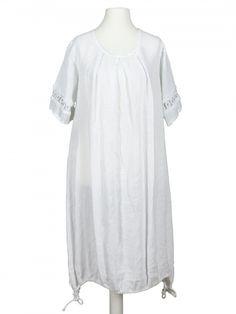 Damen Leinenkleid mit Spitze, weiss von Diana bei www.meinkleidchen.de