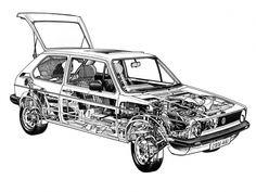 Volkswagen Golf (UK specs) (Typ - Illustration by Terry Davey Volkswagen Jetta, Vw Mk1, Cutaway, Kdf Wagen, Golf Mk2, Car Design Sketch, Car Drawings, Rally Car, Motor Car