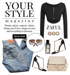 """Zaful 55"" by sabinakopic ❤ liked on Polyvore featuring Levi's, Yves Saint Laurent, Chloé, Pussycat, Alexandre Vauthier, By Terry, bestylish, zaful and lovezaful"