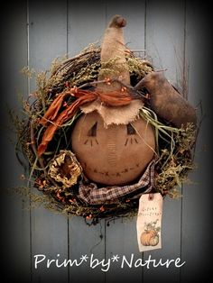 Primitive Fall Scarecrow and Crow Twig Wreath