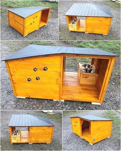 Reclaimed Pallets Wood Dog House Here we have an idea for creating reclaimed wood pallet dog house which contains the space to sleep as well as the fixed area for serving the meal which helps in avoiding the mess of placing plates anywhere in the house. Wood Dog House, Pallet Dog House, Dog House Plans, Puppy Obedience Training, Basic Dog Training, Training Dogs, Diy Pallet Furniture, Diy Pallet Projects, Pallet Ideas