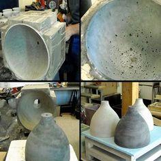 HEAVY LIGHT COLLECTION - utestående lamper, hånd-cast betong: ren, deco og design