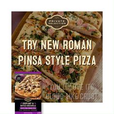 PRIVATE SELECTION™ Rustic Pinsa Romana Pizzas may be new to our stores, but they've been enjoyed since ancient Roman times! What makes pinsa pizzas so special? Each delicious variety has a rustic oval shape, irresistibly crispy yet cloud-like crust and tasty, gourmet toppings. Steak Marinade Recipes, Buffalo Mozzarella, Frozen Pizza, Campfire Food, Rowan, Pizza Recipes, Food And Drink, Tasty, Favorite Recipes