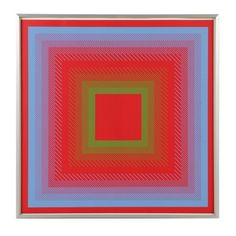 """Richard Anuskiewicz Signed Limited Edition Serigraph """"Spectral Cadmium"""""""