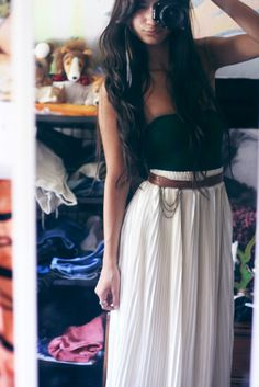 white skirts will not work for my life style, but I love the strapless, pleated (long?) skirt with belt combo