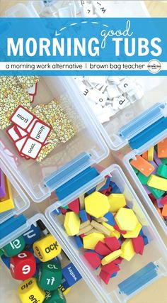 I always struggling with paper morning work but LOVE this idea for hands-on, exploration-based morning tubs!