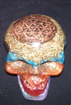 Flower of Life Orgonite Skull from Orgonotica.co.uk. Hand made in Scotland