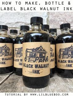 Sep 2017 - How to Make, Bottle and Label Your Own DIY Black Walnut Ink. Collect those walnuts in the yard and save them to make homemade ink. Walnut Ink, Dark Walnut Stain, How To Make Ink, Homemade Paint, Diy Inspiration, Fountain Pen Ink, Home Brewing, Herbalism, Label