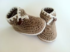 Crochet Pattern for Baby Booties Brown Bear di ThePatternParadise on Etsy
