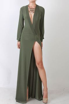 Sexy Plunging Neck Long Sleeve High Slit Dress