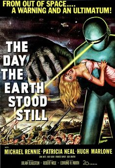 """The Day the Earth Stood Still The Day the Earth Stood Still is a 1951 20th Century Fox black-and-white science fiction film directed by Robert Wise. It was written by Edmund H. North, based on the 1940 short story """"Farewell to the Master"""" by Harry Bates. The film stars Michael Rennie, Patricia Neal and Hugh Marlowe. A humanoid alien visitor comes to Earth, accompanied by a powerful robot, to deliver an important message to humanity."""