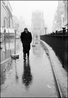 Magnum Photos -  Dennis Stock USA. New York City. 1955. James DEAN haunted Times Square. For a novice actor in the fifties this was the place to go. The Actors Studio, directed by Lee STRASBERG, was in its heyday and just a block away.