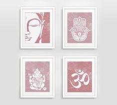 Buddha Hamsa Ganesha Om Prints Set of 4 Zen Decor by GizziDesigns