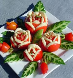 DIY Yummy Tomato and Cheese Flowers Salad:  tomato, cheese, cucumber and ham