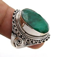 Faceted Sakota Mine Emerald Oval Gemstone Father's Day Special Ring - 925 Sterling Silver Jewelry Handmade Designer Ring Size US by arishakreation on Etsy Silver Bracelets, Sterling Silver Earrings, 925 Silver, Gemstone Jewelry, Gold Jewelry, Jewellery Uk, Diamond Jewelry, Silver Rings With Stones, Silver Engagement Rings