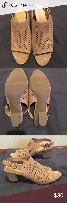 "Like New Franco Sarto Slingbacks Soft perforated leather, open toe Slingbacks.  2""heel, Taupe color is perfect for spring. Franco Sarto Shoes"