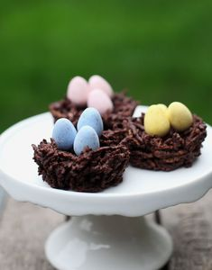 Happy Easter! These delicious chocolate nests and candy eggs are the perfect no-bake treat this spring.
