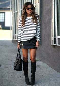 Mini skirt? Yes. That black n white top? Uhuu... Those bangin boots?! Hell frocking yes!! ^-^
