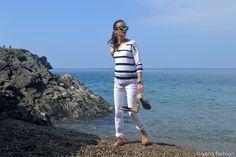 Хлопковый джемпер и белые брюки | yana.fashion