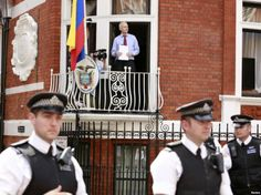 Jullian Assange addresses supporters from the Ecuadorian Embassy in London, where he has sought asylum after leaking US Government documents...