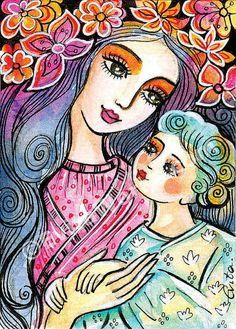 Madre y el niño de la ilustración jardín flores por EvitaWorks