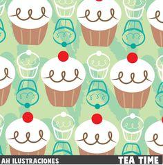 Tea time pattern Art print by Ah Ilustraciones #Pattern #Muffin #Cupcake