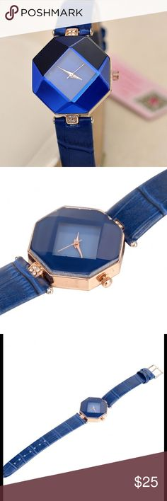 Stylish Royal Blue Watch Synthetic leather watch in a gorgeous Royal blue. Very unique face. Accessories Watches