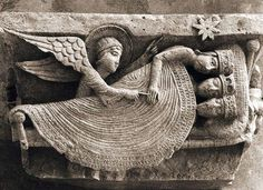 The Angels of French sculptor Gislebertus (Active 1120-1150), Cathedral of St. Lazarus, Autun, France