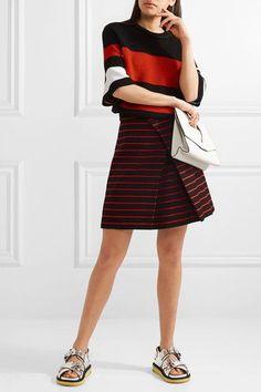 Proenza Schouler - Striped Crochet-knit T-shirt - Black - x small