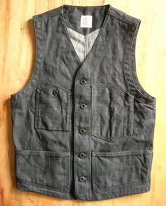 Selvage Denim Railroad Vest, buckle back, hand made in USA.